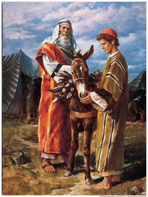 A painting depicting Abraham and Isaac gathering wood for a sacrifice.