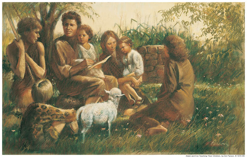 A painting depicting Adam and Eve sitting with their children and teaching them.