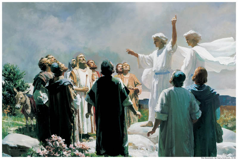 A painting depicting angels telling the apostles of Jesus Christ that Jesus has ascended into heaven.