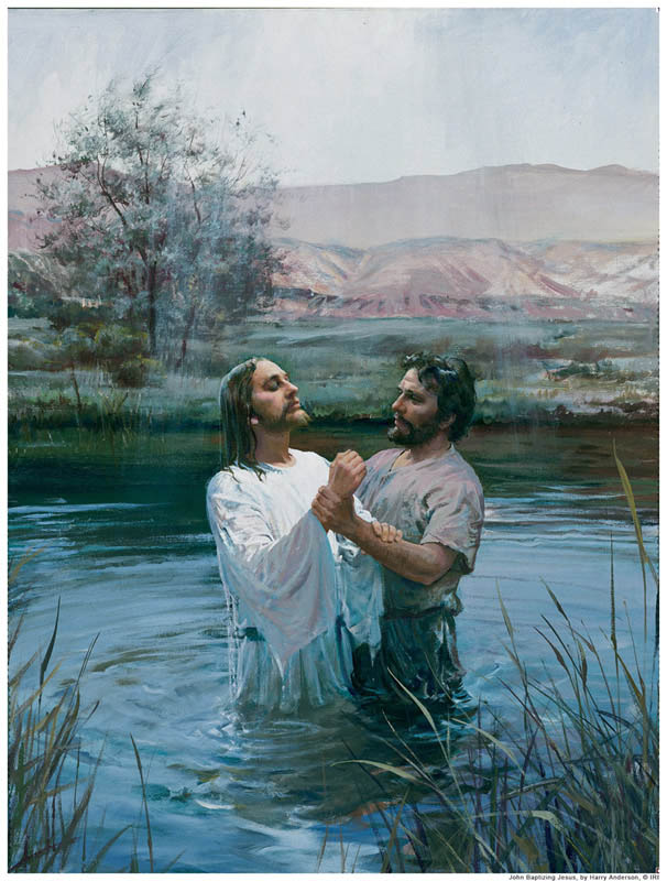 A painting depicting Jesus Christ being baptized by immersion by John the Baptist.