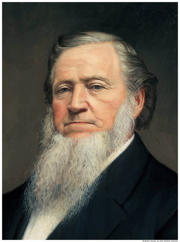 A portrait painting of the Mormon prophet Brigham Young.