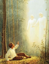 A painting depicting Joseph Smith's first vision of God the Father and Jesus Christ.