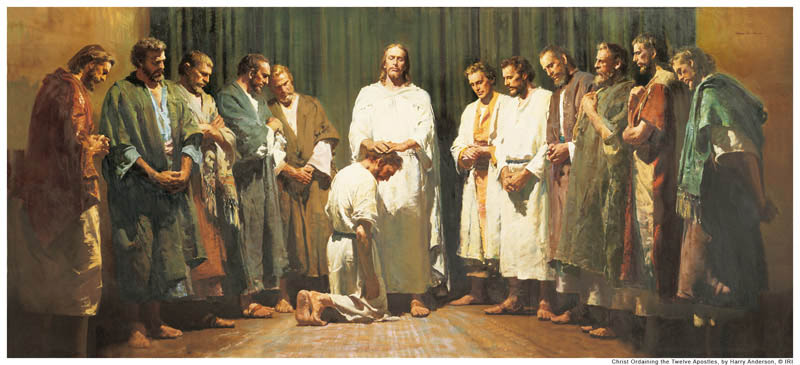A painting depicting Jesus Christ ordaining the twelve apostles by the laying on of hands.