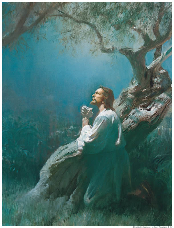 A painting depicting Jesus praying in Gethsemane.
