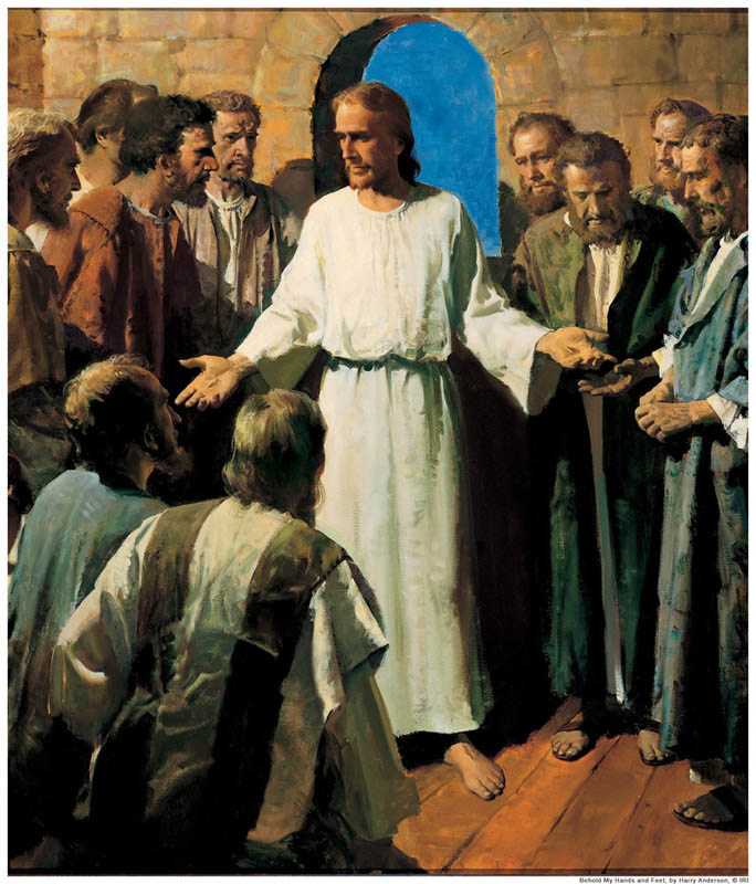 A painting depicting Christ showing the wounds in His hands to the twelve apostles.