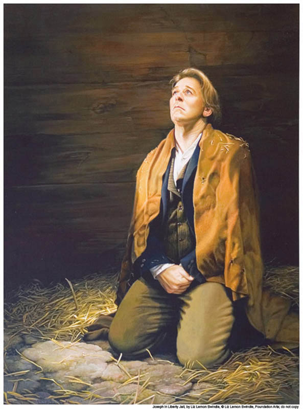 A painting depicting Joseph Smith in Liberty Jail, praying.