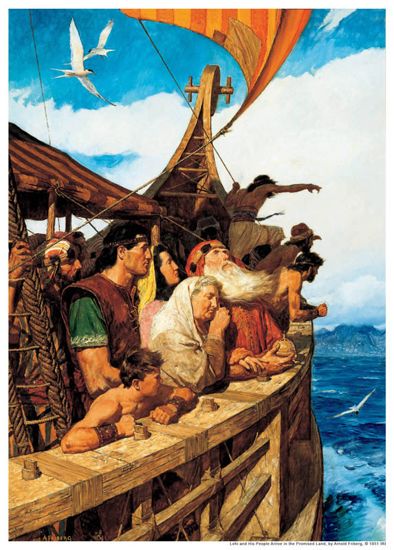 A painting depicting Lehi and his family in a ship, crossing the ocean.