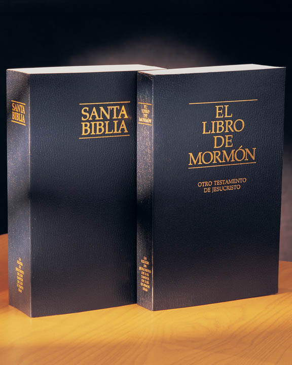 A photo of the Spanish Holy Bible and The Book of Mormon standing upright together.