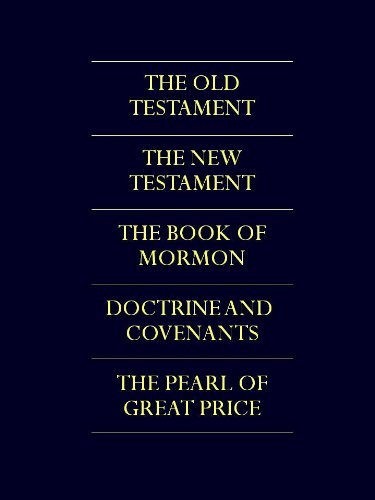A photo of the Mormon scriptures: The Old Testament, The New Testament, The Book of Mormon, Doctrine and Covenants, and The Pearl of Great Price.