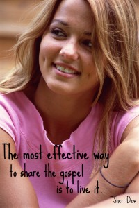 """""""The most effective way to share the gospel is to live it."""" - Sheri Dew; A photo of a young woman smiling."""
