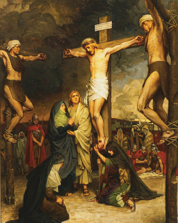A painting depicting the crucifixion of Jesus Christ.