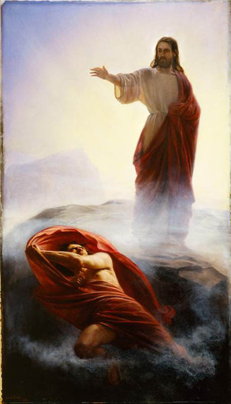 A painting depicting Jesus Christ casting Satan out of his presence.