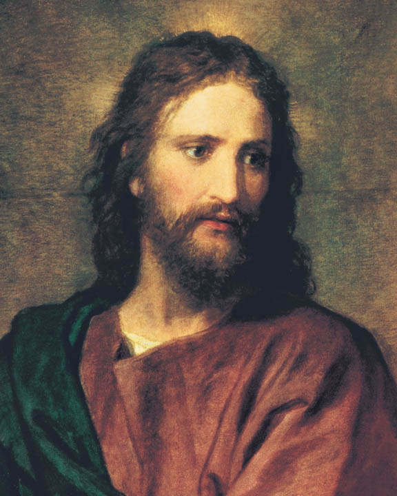 A portrait painting of Jesus Christ in a red robe.
