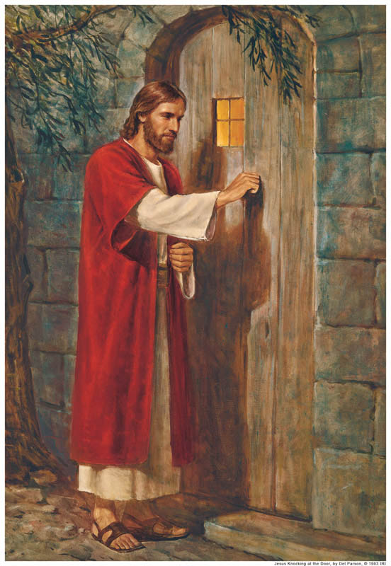A painting of Jesus knocking at a door without a handle on the outside.