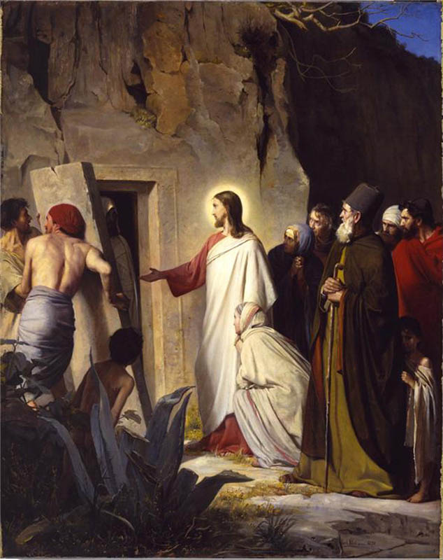 A painting depicting Jesus raising Lazarus from the dead.