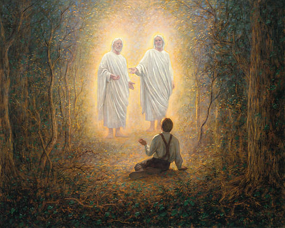 A painting depicting Joseph Smith's first vision of God the Father and His Son, Jesus Christ.