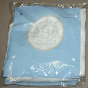 A photo of a package of Mormon undergarments.