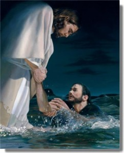 A painting depicting Christ pulling Peter out of the water after he has started to sink.