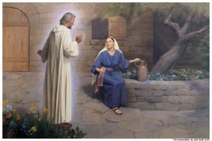 A painting depicting the Angel Gabriel appearing to Mary.