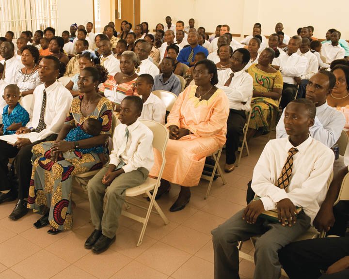 A photo of a Mormon Church meeting with a predominately African-American congregation.