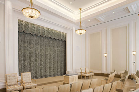 A photo of the Mormon Draper Temple endowment room.