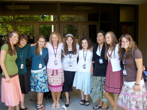 photo of a group of Mormon Young Women in modest dresses