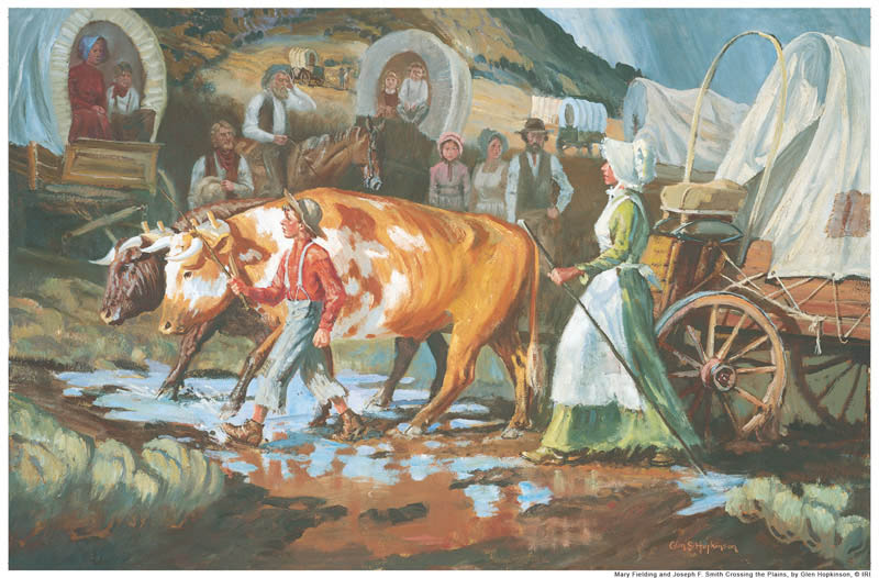 A painting depicting Mary Fielding Smith crossing the plains.