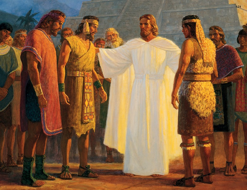 A painting depicting Christ visiting the Americas.