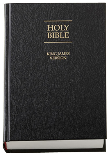 A photo of the King James version of the Holy Bible.