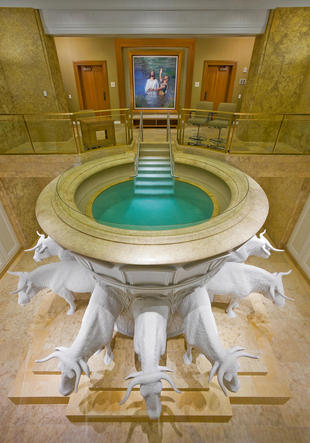 A photo of the Temple Font in a Mormon temple.