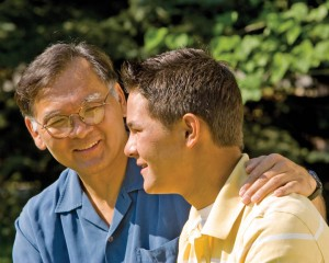 A Mormon father talking with his son.