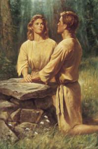 Adam and Eve kneeling together