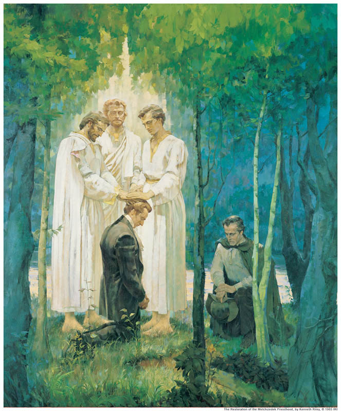 A painting depicting the restoration of the Melchizedek Priesthood by Peter, James, and John to the Prophet Joseph Smith.