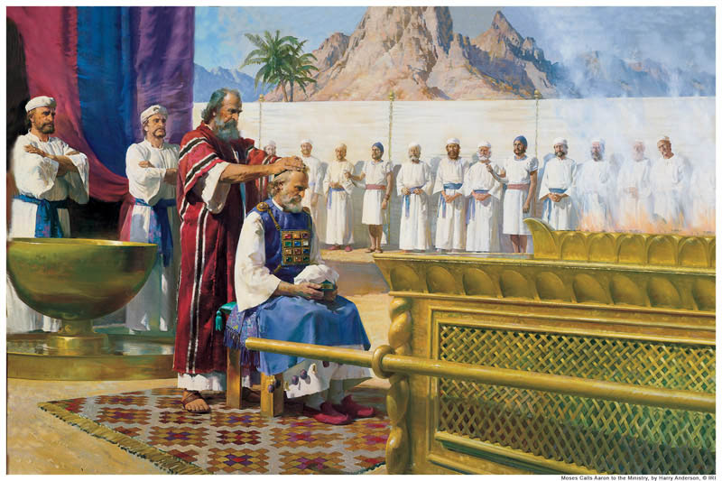 A painting depicting Moses giving Aaron the Priesthood.