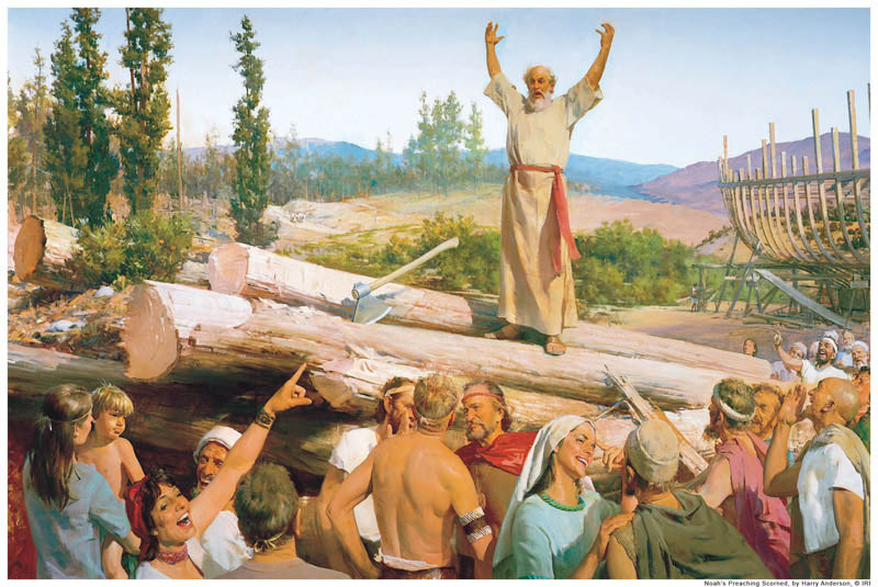 A painting depicting Noah prophesying to the people about the flood.