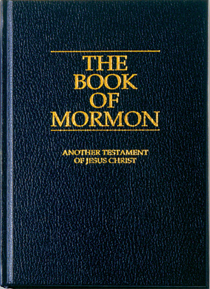 A photo of a copy of The Book of Mormon.