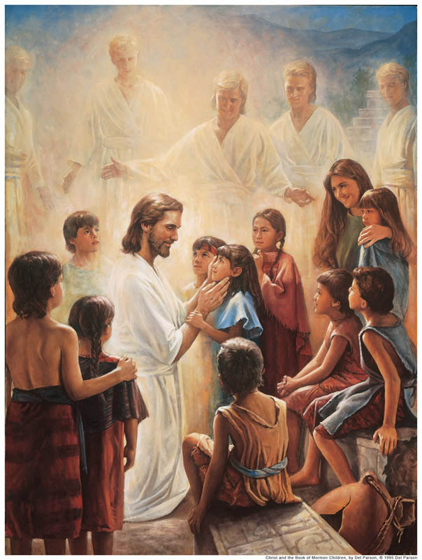 A painting depicting Christ blessing the Nephite children.