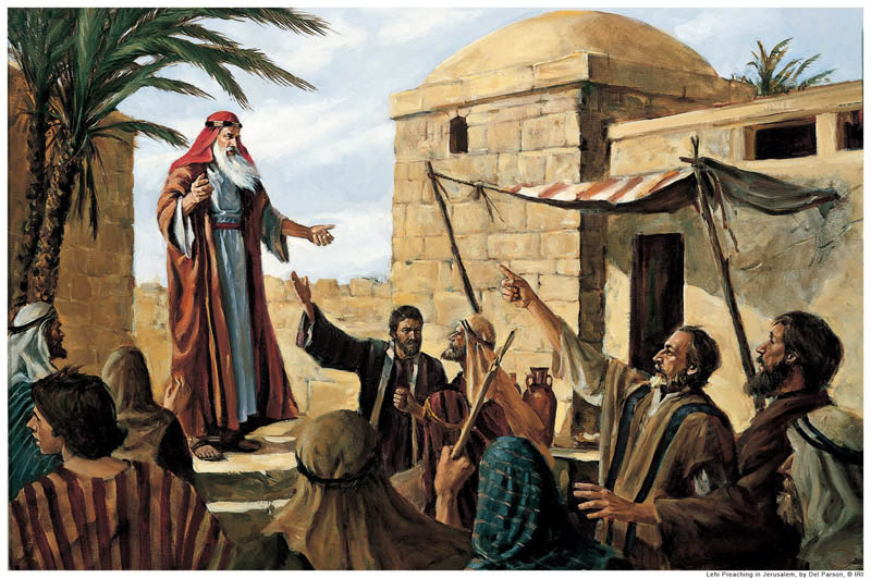 A painting depicting Lehi prophesying to the people in Jerusalem.