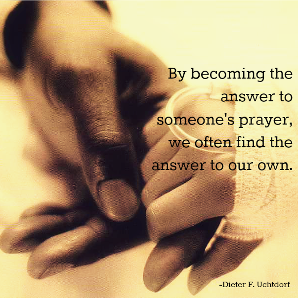 """By becoming the answer to someone's prayer, we often find the answer to our own."" - Dieter F. Uchtdorf; A closeup photo of a man's hand holding a bandaged hand of someone in the hospital."
