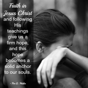 Woman crying and a quote about faith in Jesus Christ.