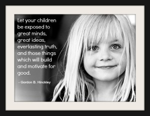 Black and white photo of a Mormon child and a quote about children from Gordon Hinckley.