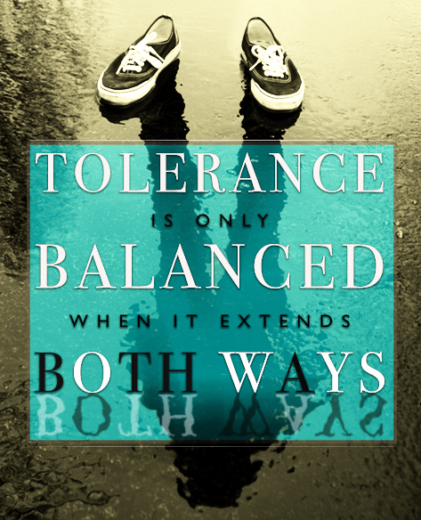 """Tolerance is only balanced when it extends both ways.""; A black and white painting of empty shoes with a shadow of a person extending beneath."