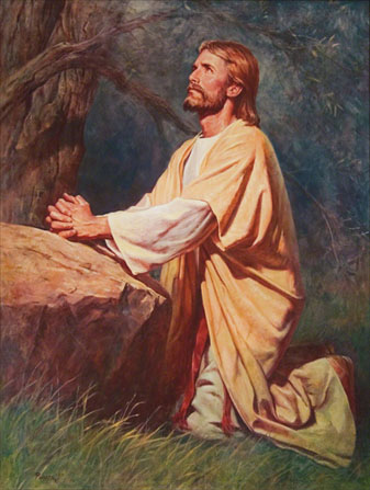 Jesus Christ praying by Del Parson