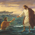 Jesus walking on water to save Peter