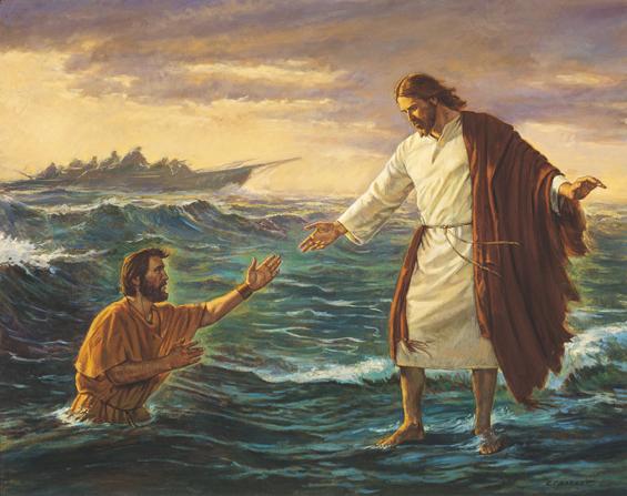 Jesus walking on water to save Peter