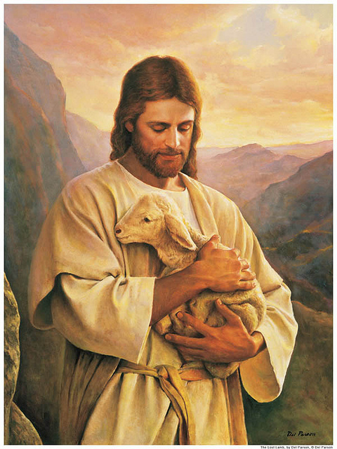 Jesus Christ with the lost lamb