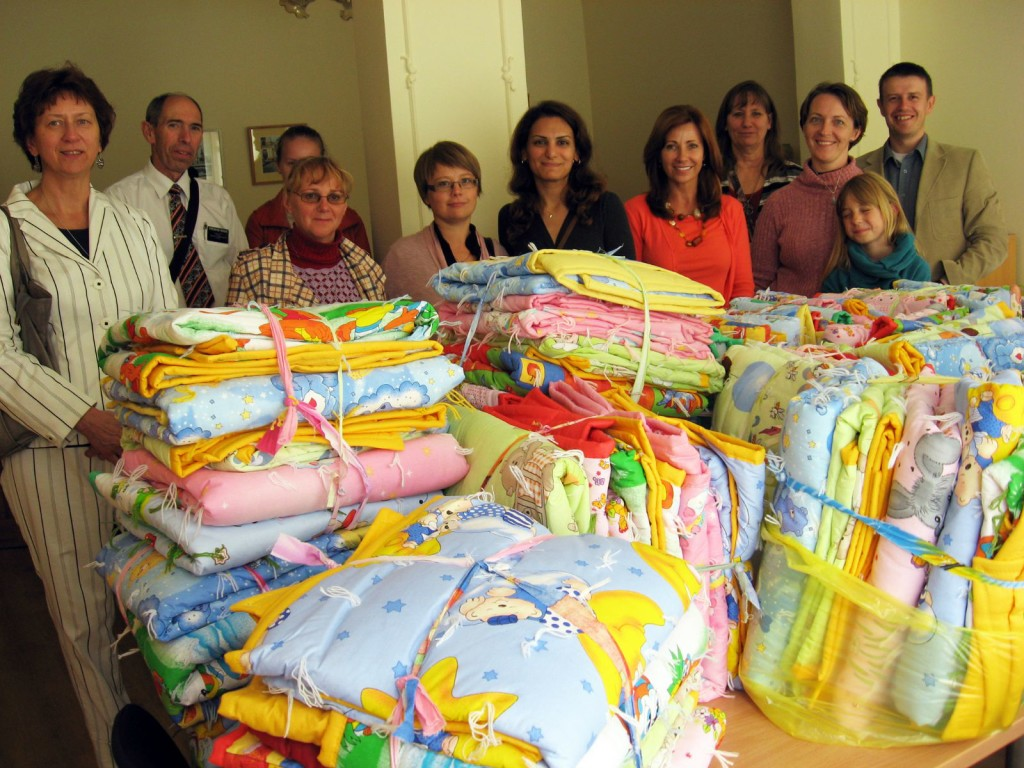 Latter-day Saints in Lithuania made baby quilts for those in need