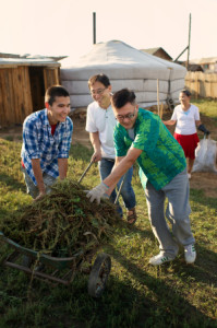 Men doing yardwork as a service to others