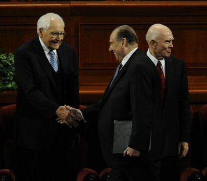 President Monson and Elders Perry and Oaks.