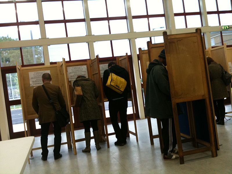 People voting in an election.